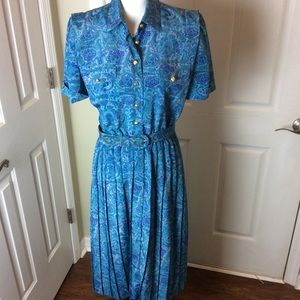 Vintage 1980s polyester paisley dress